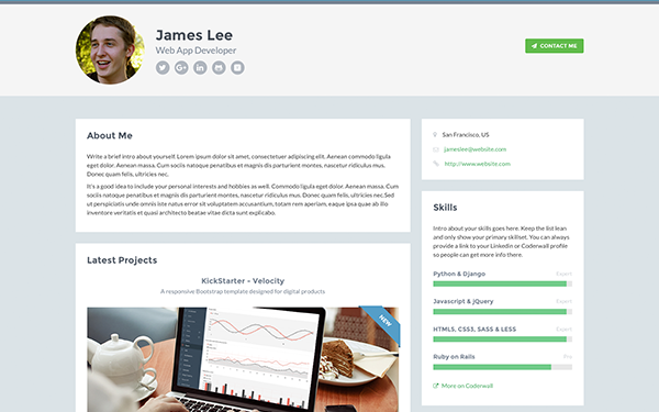 Free responsive website template for developers for Free bootstrap portfolio template