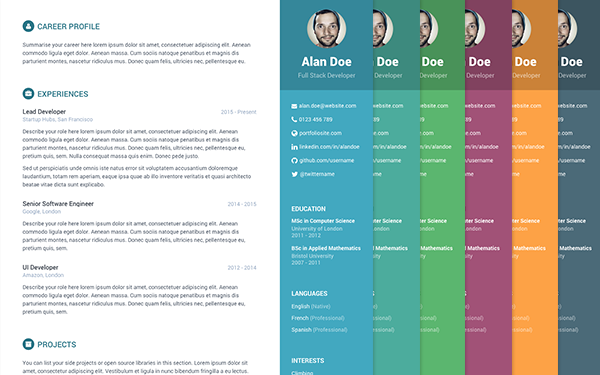 Free bootstrap resumecv template for developers orbit yelopaper Images