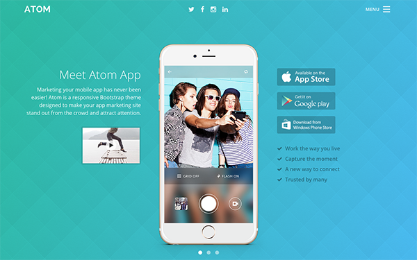 Responsive bootstrap theme for mobile apps atom for App press release template