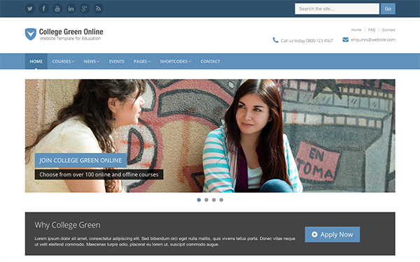 Responsive bootstrap theme for education college green maxwellsz