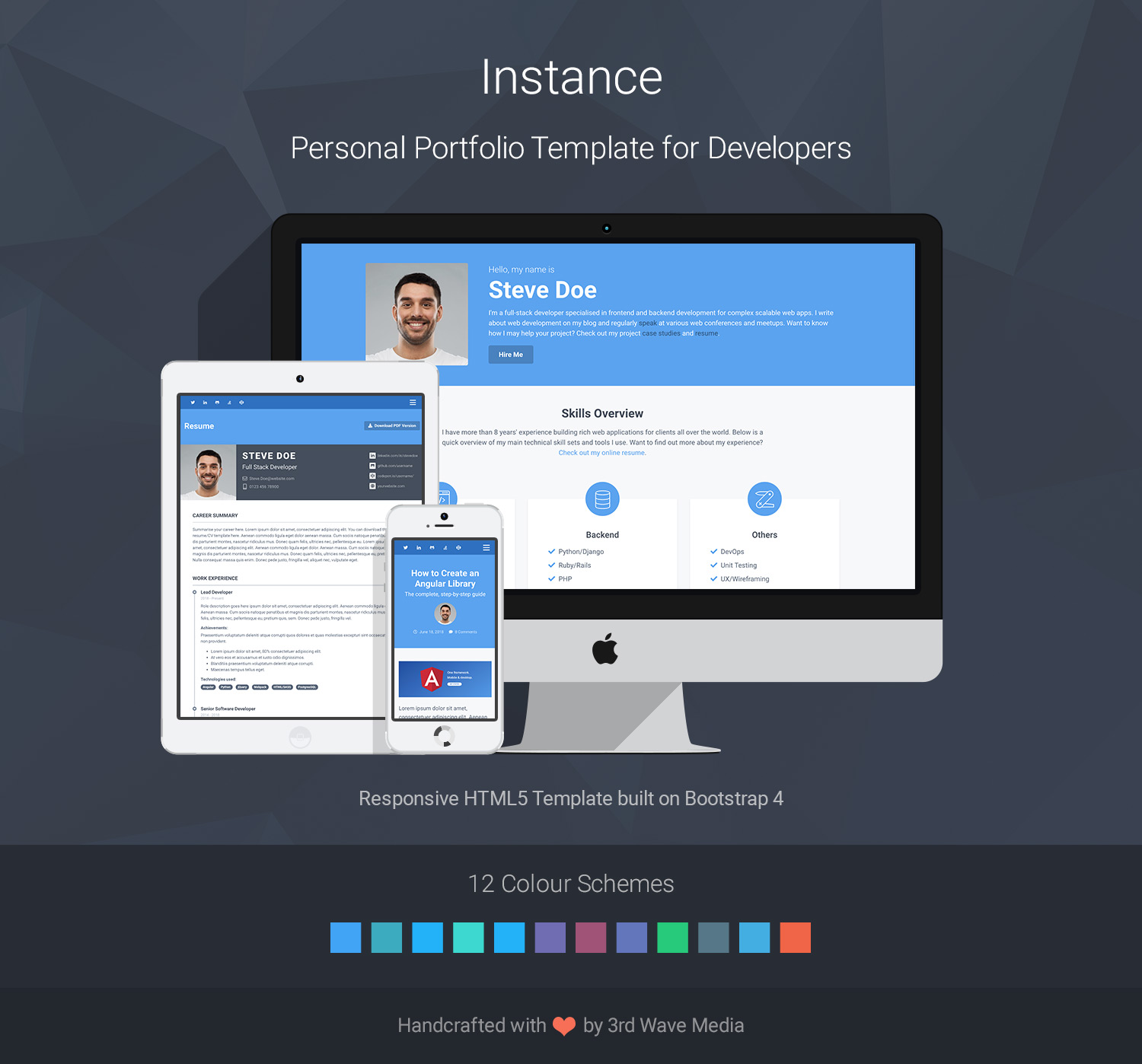 Instance - Bootstrap Personal Portfolio Theme for Full Stack Developers