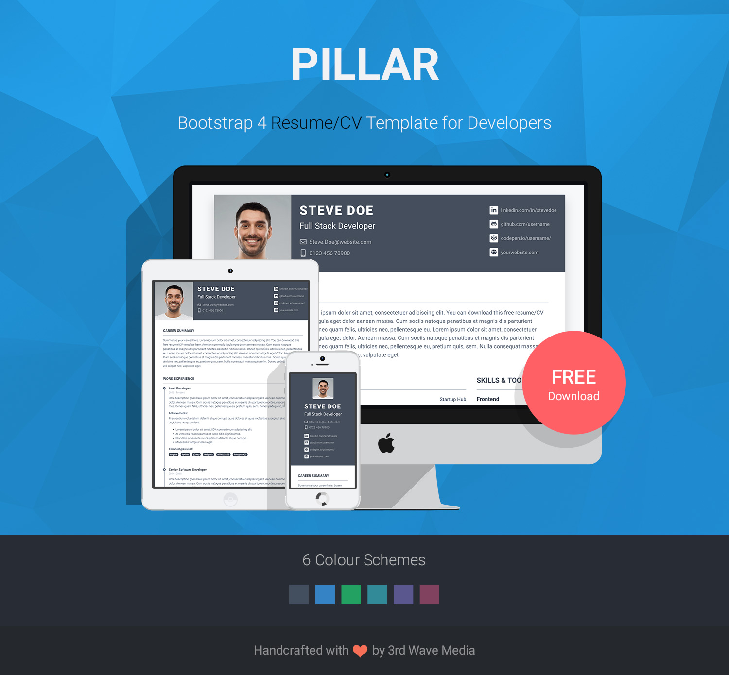 Pillar - Free Bootstrap 4 Resume/CV Template for Developers | UX