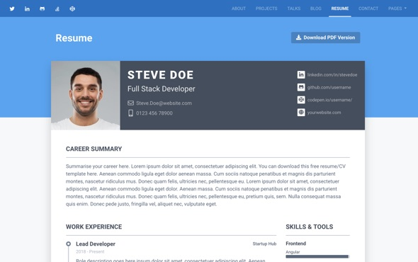 bootstrap-portfolio-template-for-developers-instance-resume-page