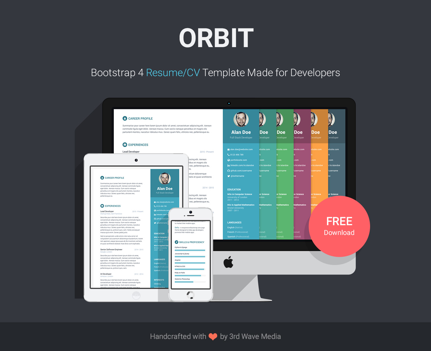 Free bootstrap resumecv template for developers orbit bootstrap resume cv template for developers yelopaper Images