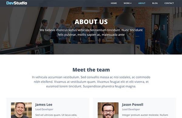 Bootstrap 5 template for webdev agencies - DevStudio