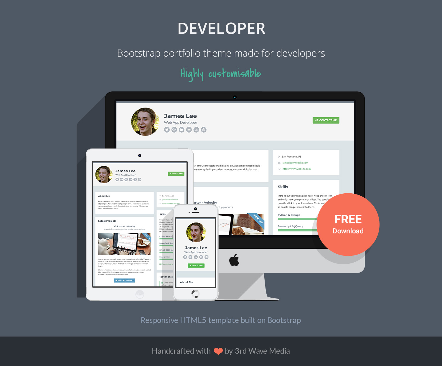 Developer - Free Bootstrap 4 Portfolio Theme for Developers