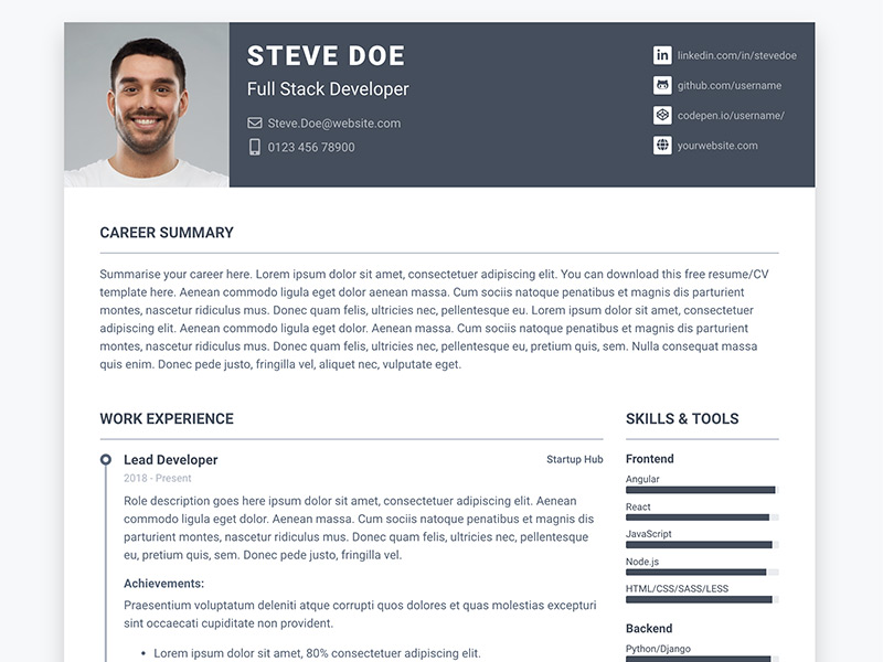 pillar free bootstrap 4 resume cv template for developers ux