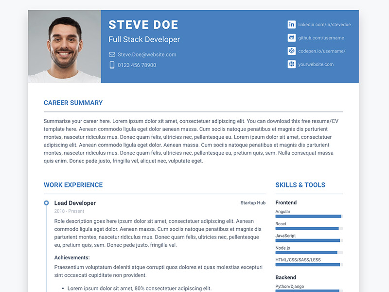 Pillar - Free Bootstrap resume/cv template for developers - Color 2