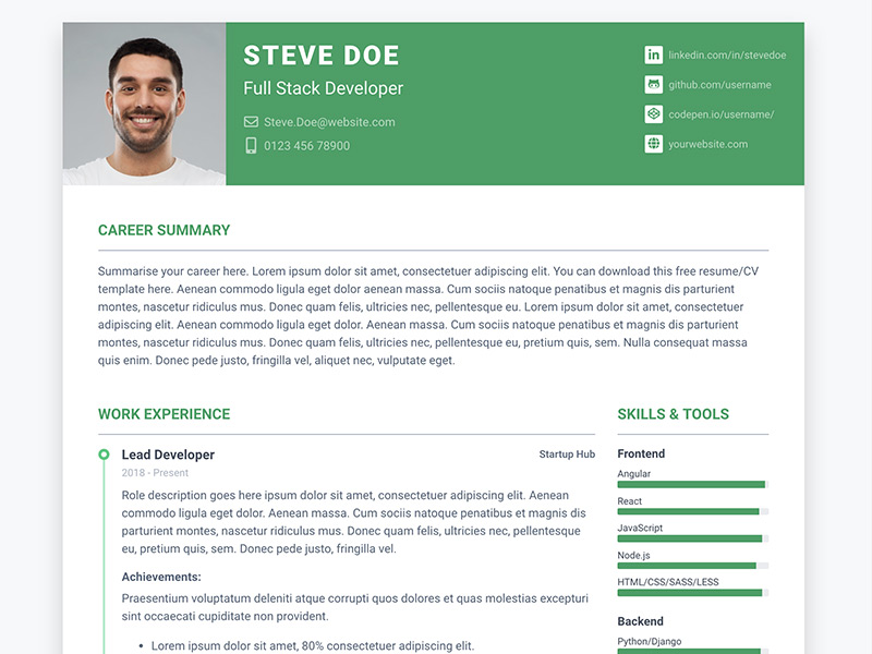 Pillar - Free Bootstrap resume/cv template for developers - Color 3