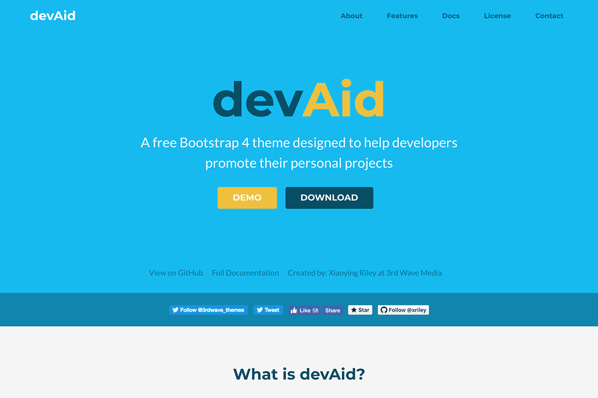devAid - free product landing page template for coding projects