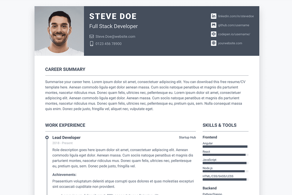Pillar Free Bootstrap 4 Resume Cv Template For Developers