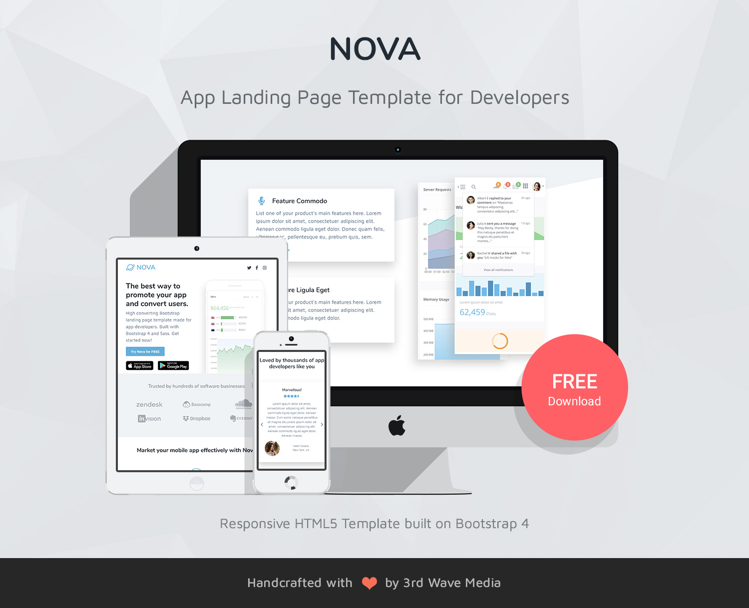 Nova Free Bootstrap 4 App Landing Page Template For Developers