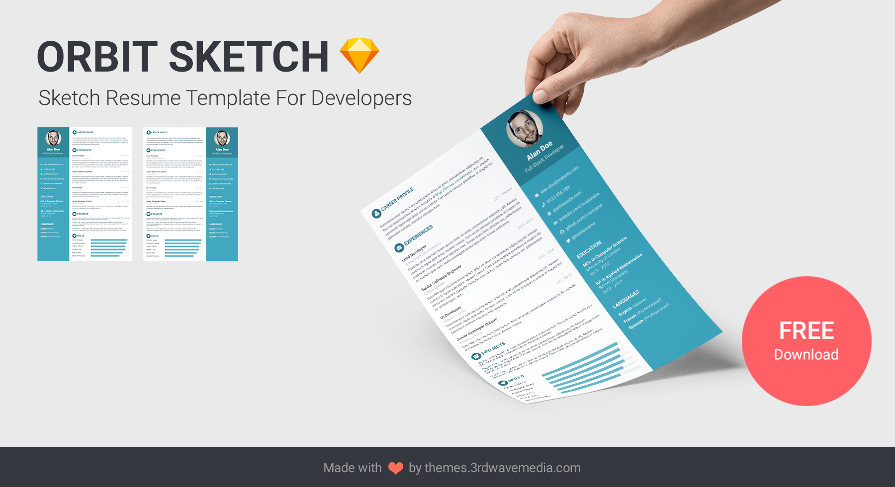 Orbit Sketch Resume Template For Developers