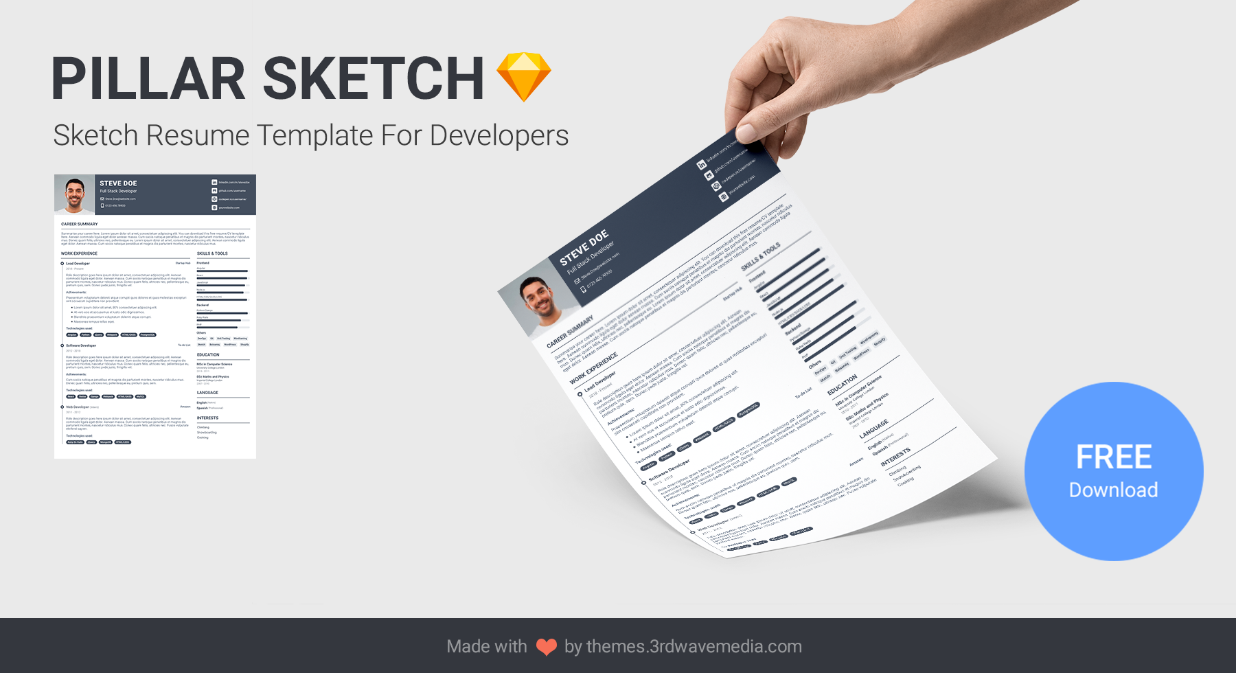 Pillar Sketch Resume Template For Developers