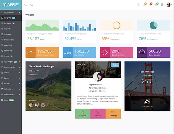 bootstrap-admin-template-appify-widgets-page