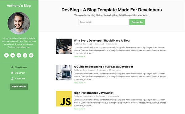 DevBlog - Free Bootstrap blog template for developers - default color