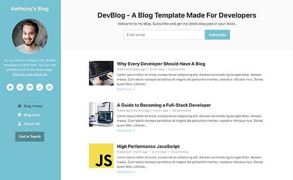 DevBlog - Free Bootstrap blog template for developers - colour 2