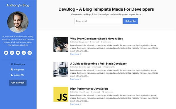 DevBlog - Free Bootstrap blog template for developers - Color 3