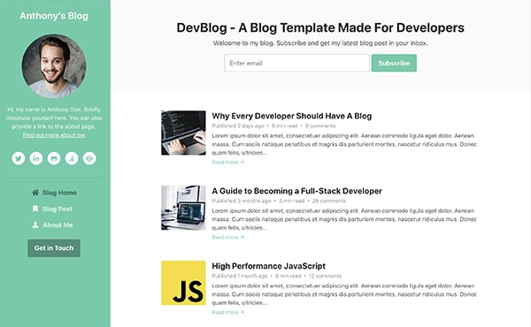 DevBlog - Free Bootstrap blog template for developers - Color 4