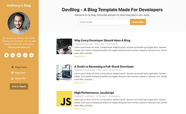 DevBlog - Free Bootstrap blog template for developers - colour 5