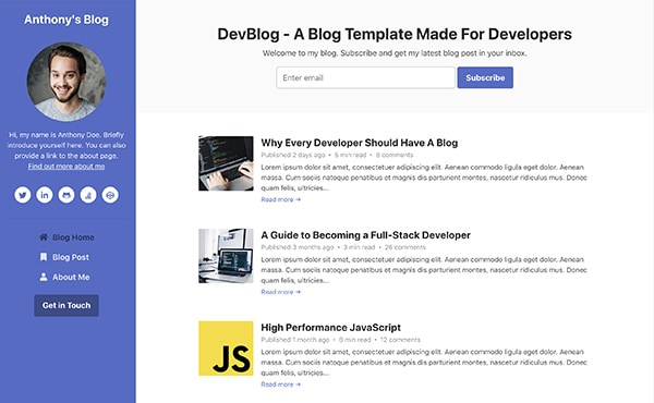 DevBlog - Free Bootstrap blog template for developers - colour 6