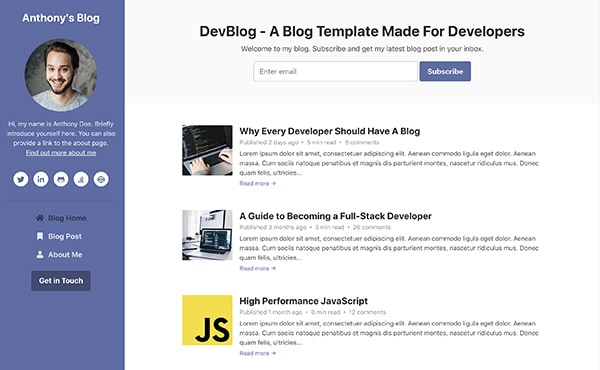 DevBlog - Free Bootstrap blog template for developers - Color 7