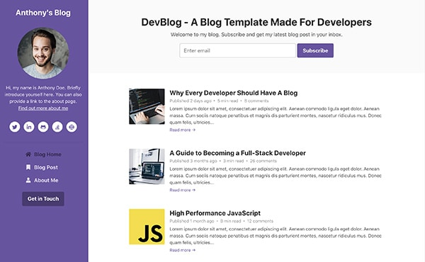 DevBlog - Free Bootstrap blog template for developers - Color 8