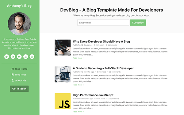 DevBlog – Free Bootstrap 4 Blog Template for Developers