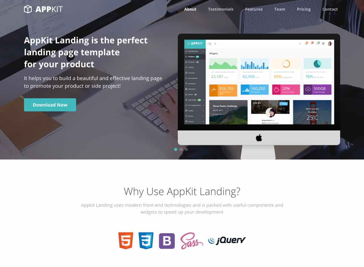 Appkit Lanidng - Free product landing page for startups and developers