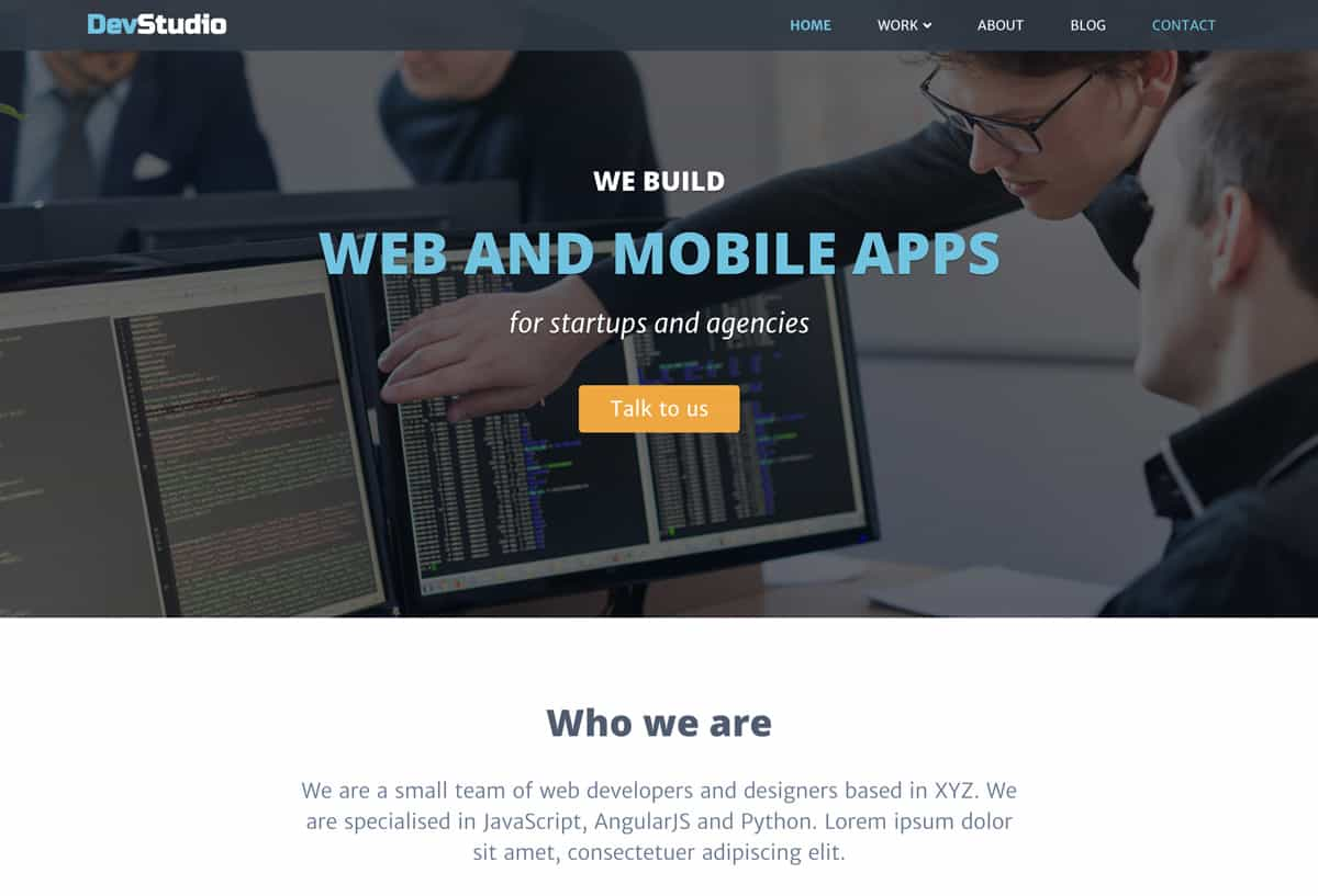 devstudio - bootstrap website template for webdev agencies and freelance developers