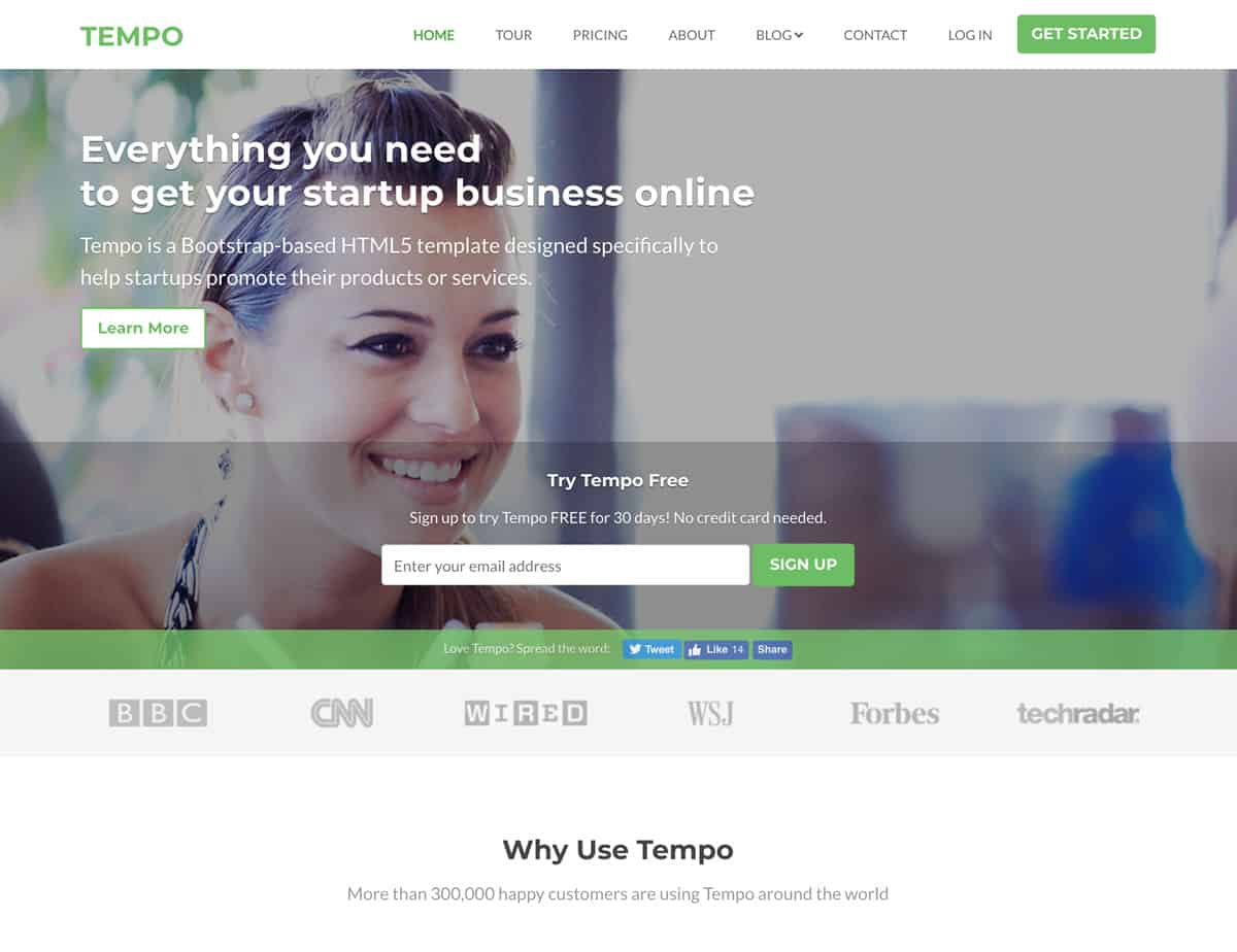 tempo - bootstrap website template for startups