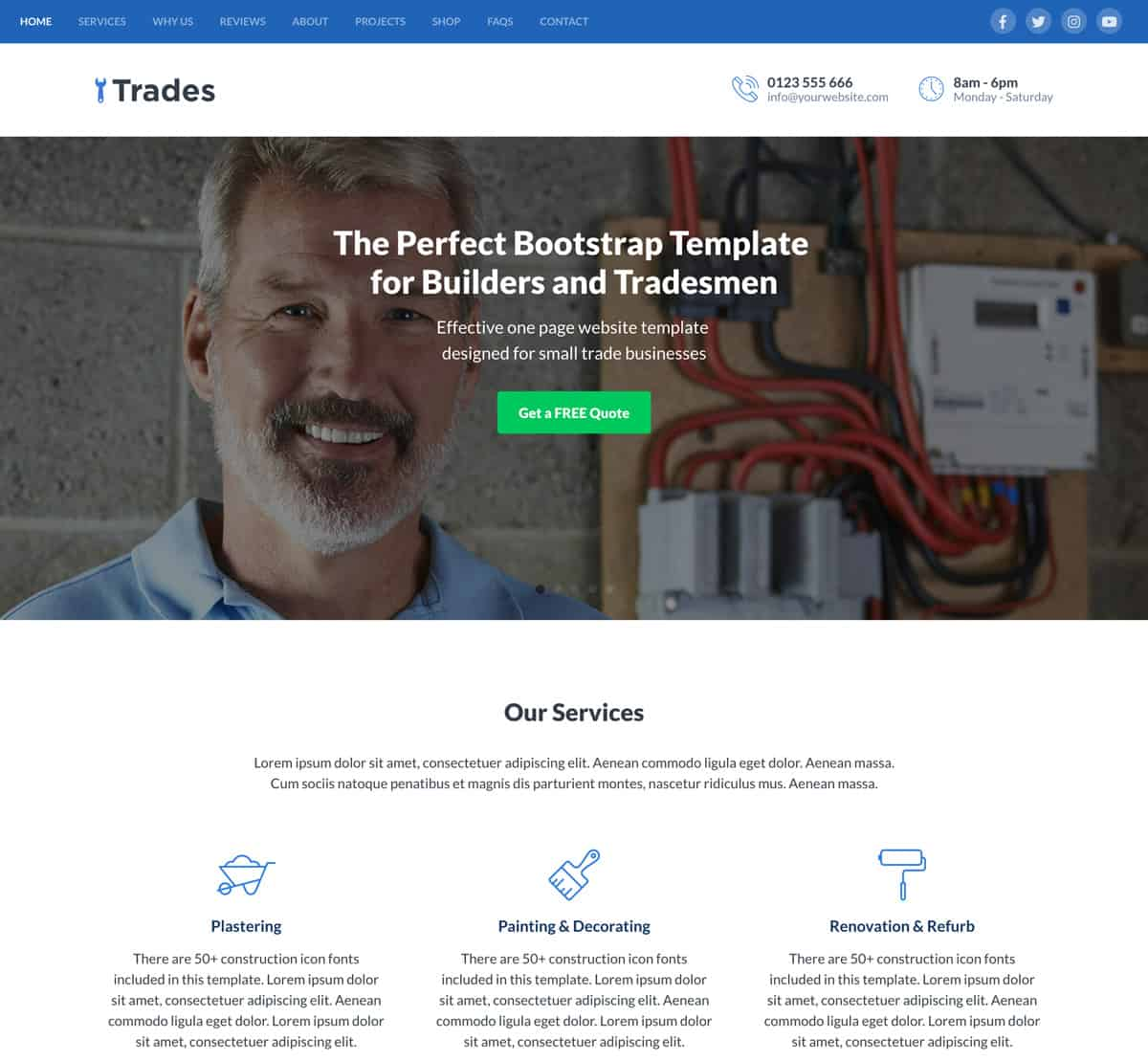 trades - bootstrap website template for builders and small construction companies