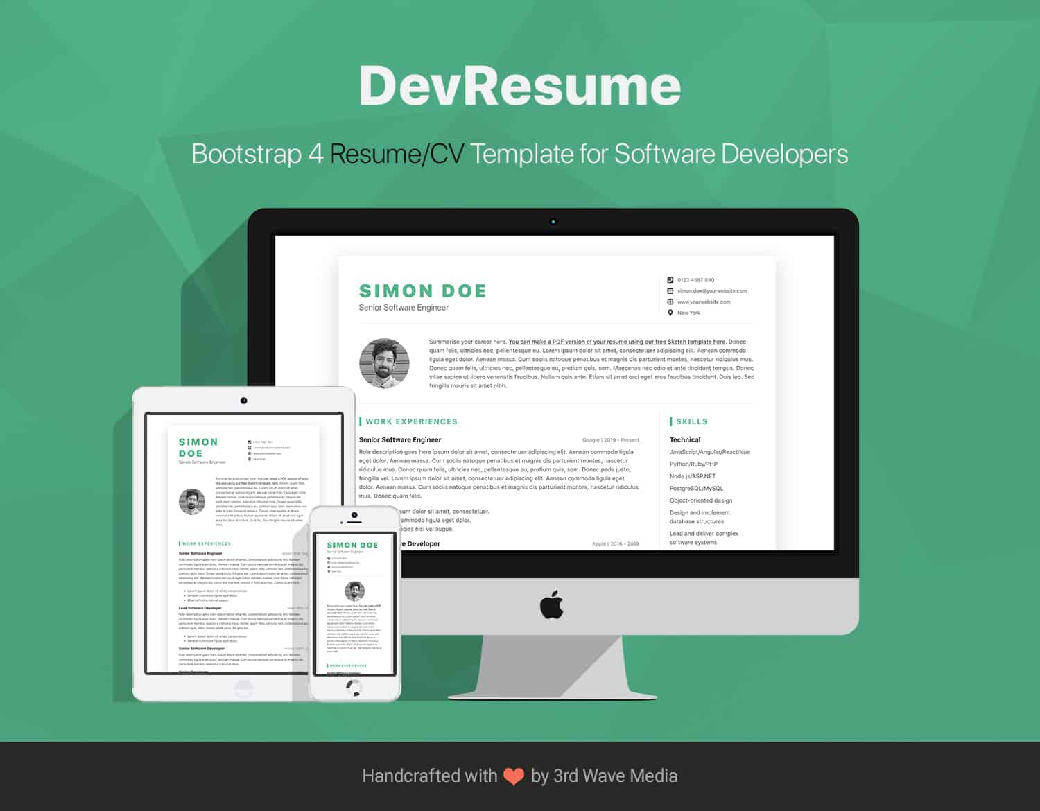 devresume  cv template for software