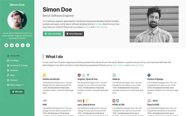 DevCard - Bootstrap vCard and Portfolio Template For Developers