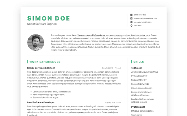 Devresume Bootstrap 4 Resume Cv Template For Software