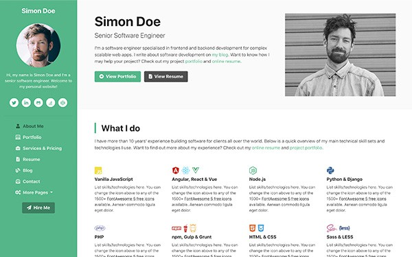DevCard – Bootstrap 4 vCard and Portfolio Template for Software Developers