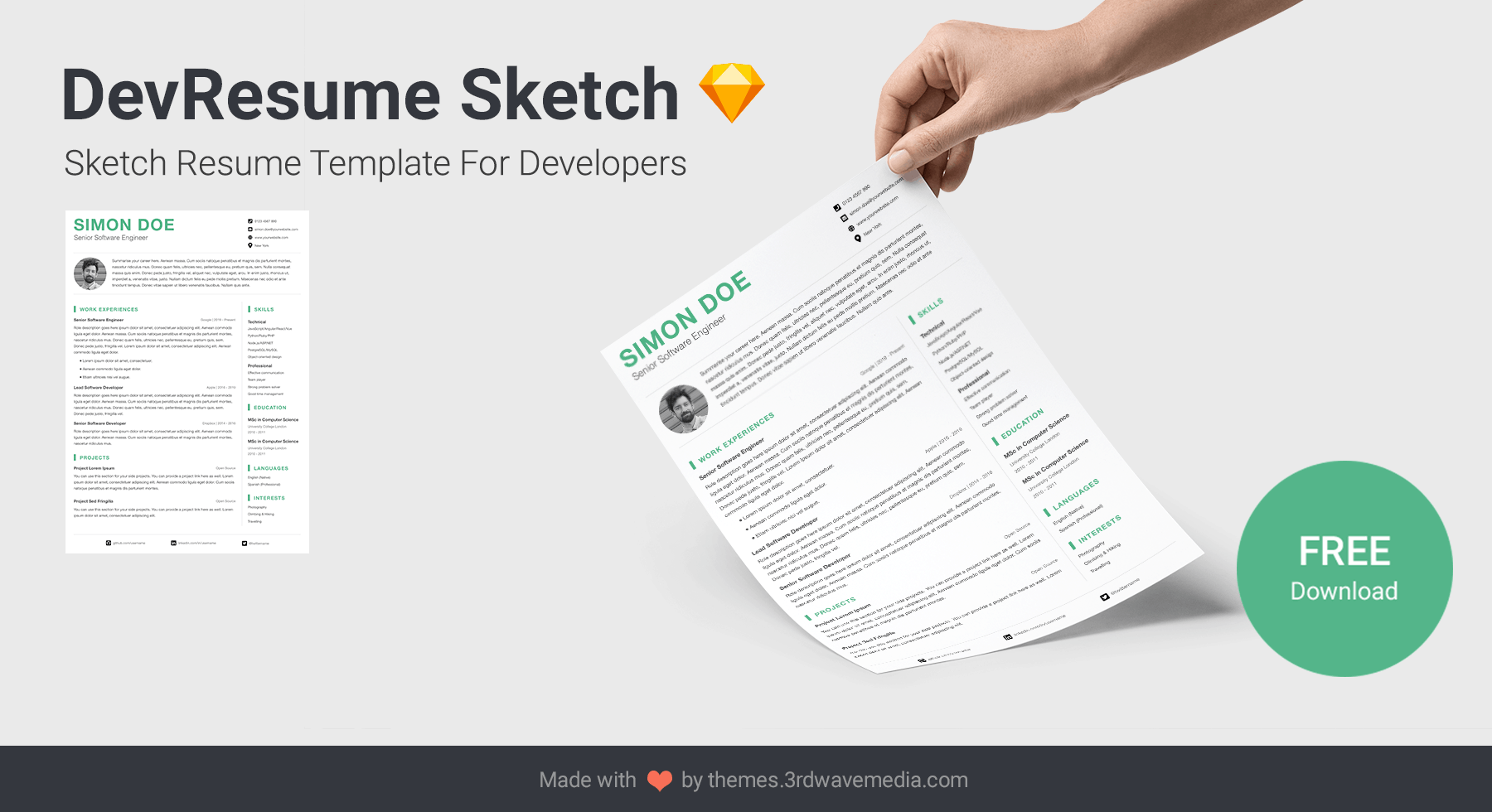 DevResume Sketch Resume Template For Software Developers