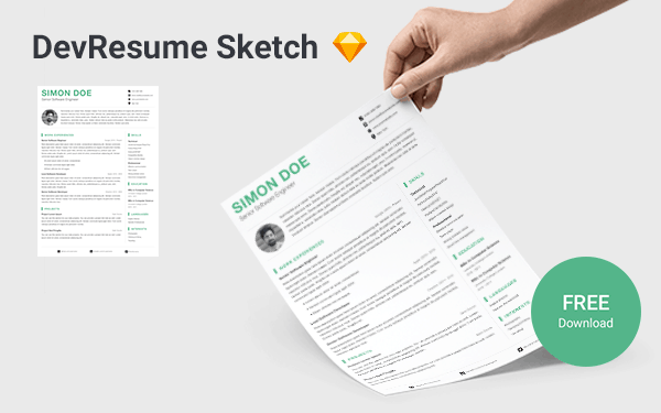 DevResume Sketch - Free Sketch Resume Template For Software Developers