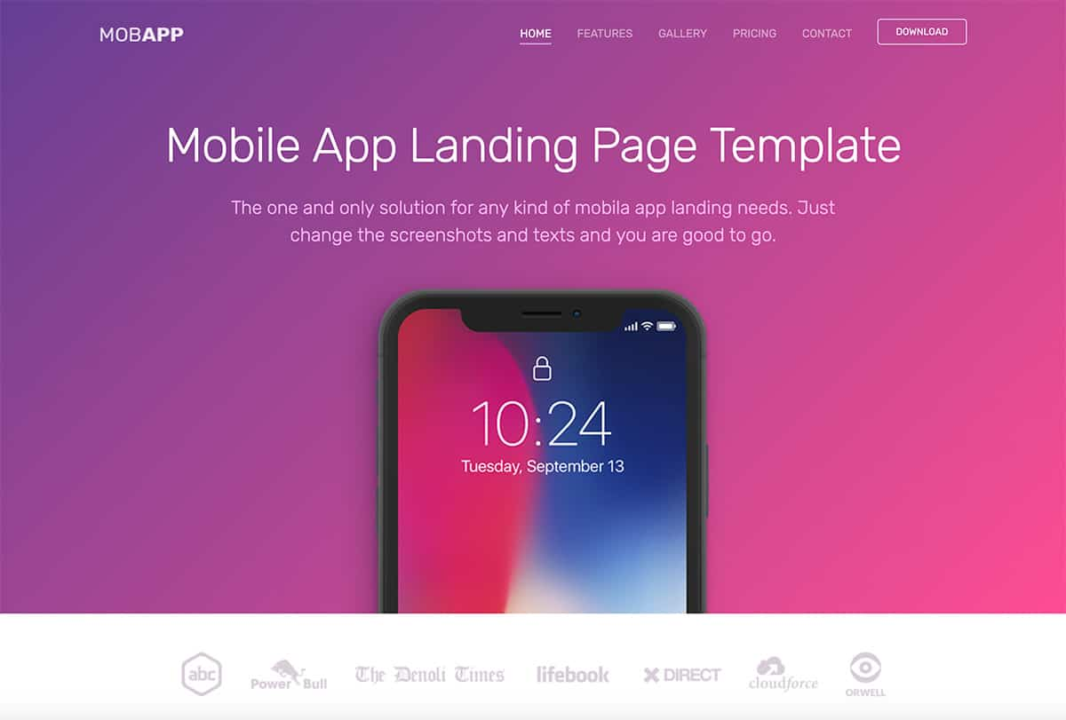 Best Free Mobile App Landing Page Templates For Developers