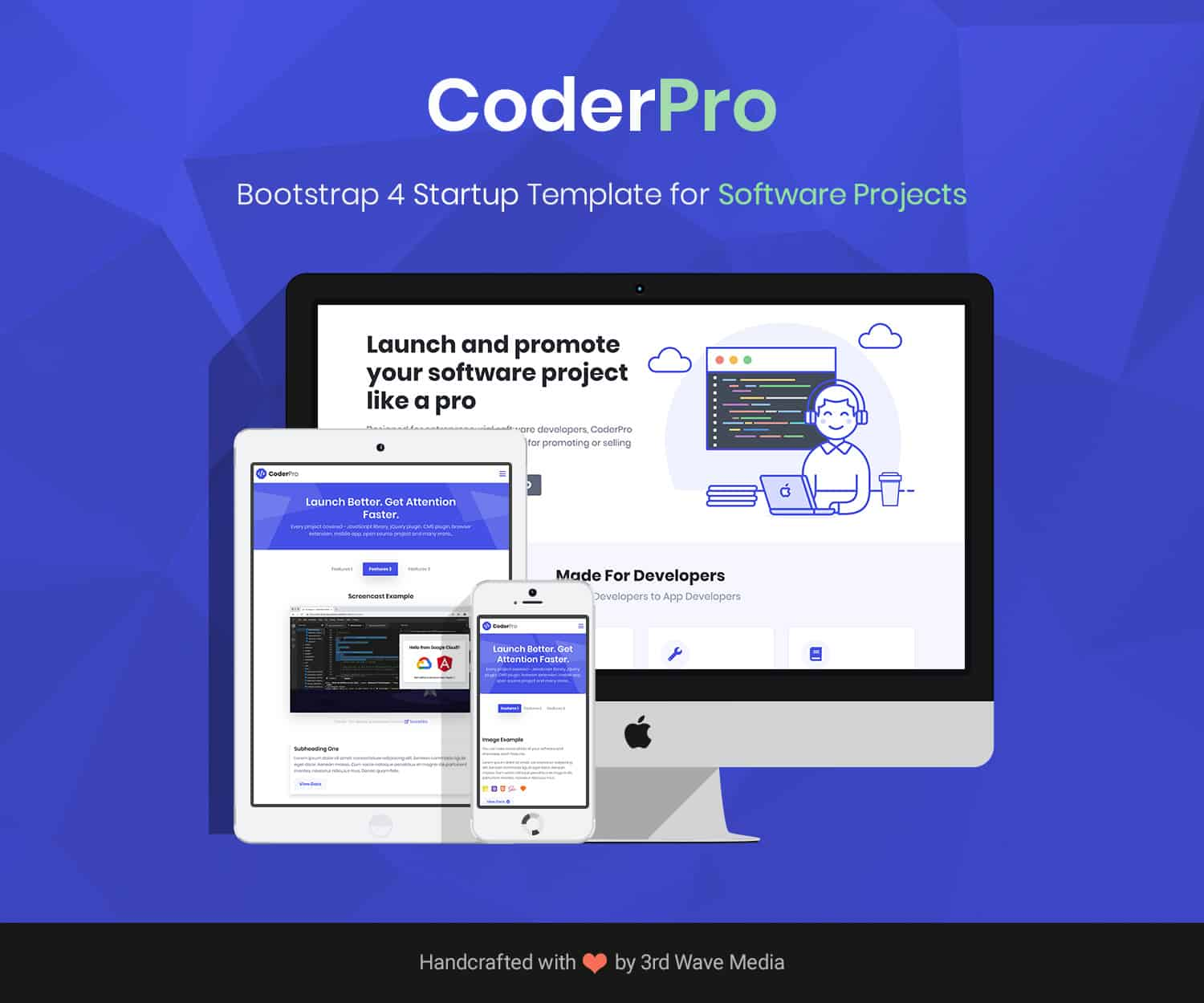 CoderPro Bootstrap Startup Template For Software Projects