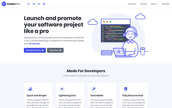 CoderDocs – Bootstrap 4 Documentation Template for Software Projects