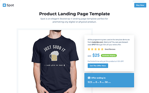 Spot - Free Bootstrap 4 Product Landing Page Template For Developers