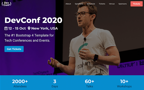 DevConf - Bootstrap 4 Conference Template For Tech Conferences and Events