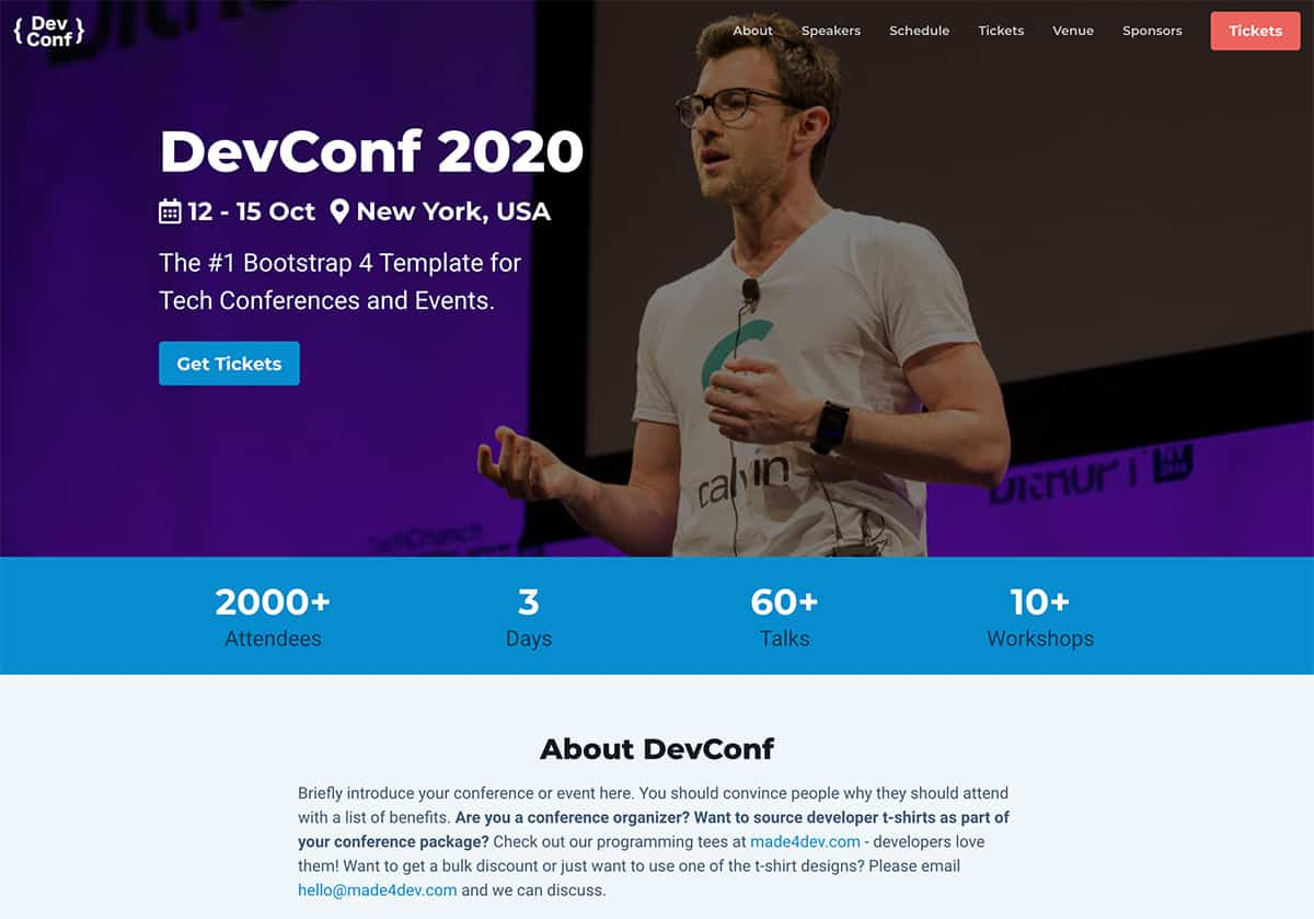DevConf - Free Tech Conference Site Template built on Bootstrap