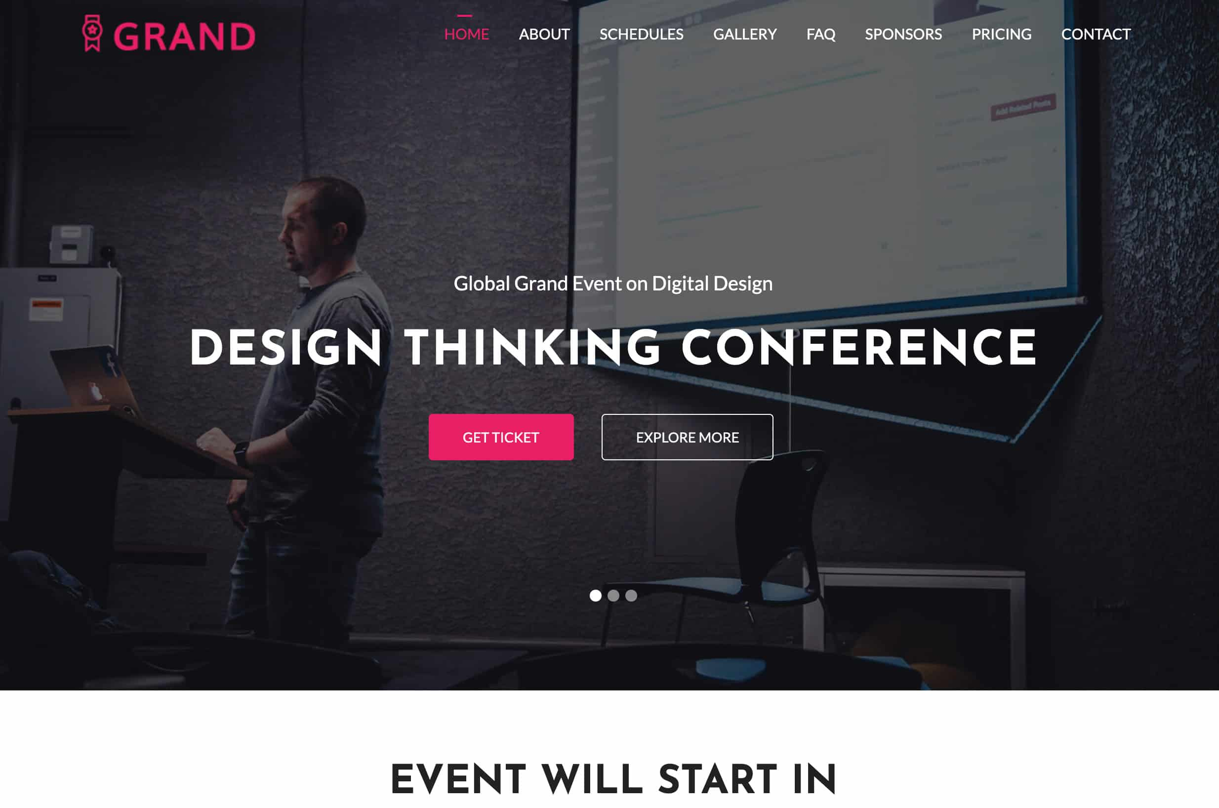 Grand - Free conference and event template