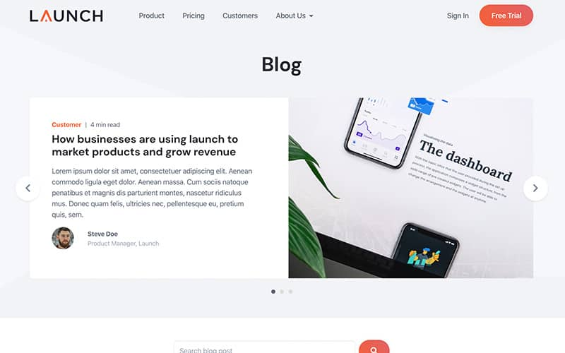 Launch Template Blog Page