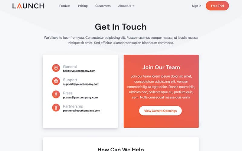 Launch Template Contact Page