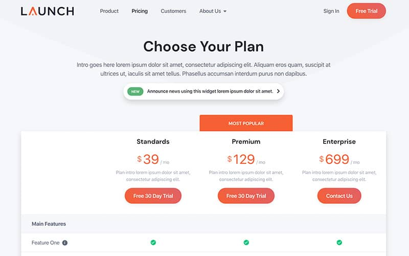 Launch Template Pricing Page