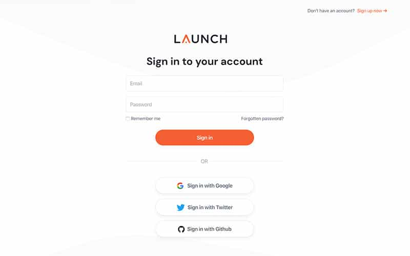 Launch Template Signin Page
