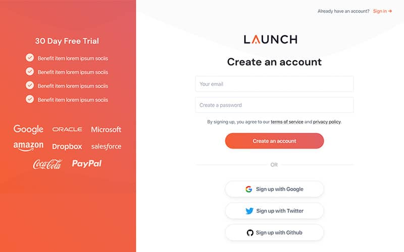 Launch Template Sign Up Page